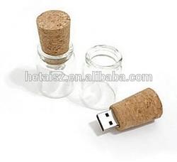 Wholesale Glass Jar Cork USB Flash Drive Pendrive Memory Stick bootle wooden pen drive 128MB-64GB