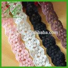 Gorgeous Colorful Stretch Lace Trim Cotton Crochet 3.2cm Wide for Wedding Accessories KK5140