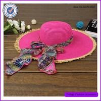 Classy Ladies pink sun block wide raw brim summer floppy hat with ribbon