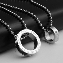 2015 new arrival slide stainless steel necklace o shape pendants design cool necklace pendants for men women