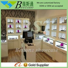 jewelry store decorative wall wooden glass shelves with locks
