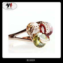 Fine Gold Alloy Three Color Glass Rings Jewelry