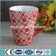 Microwave dishwasher safe color glaze pottery mug with handpainting design