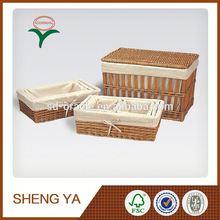 Wooden Craft Round Brown Laundry Basket Corner