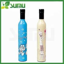 2015 hot sale folding umbrella/wine bottle umbrella with cartoon pictures