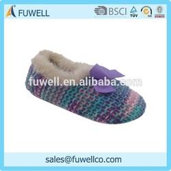 New design plush warm knit crochet slippers