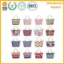 Lady wholesale print canvas rope handle beach bag
