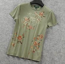 Custom 100 cotton lady T shirt flower embroider T-shirt women