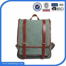 Classic green canvas and leather backpack for boys