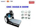Cnc router 3040z-s800w, refrigerado por agua de la máquina de grabado, 800w motor del huso con el interruptor de límite