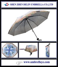 All uv coated 3 fold umbrella manual open , pongee fabric umbrella price