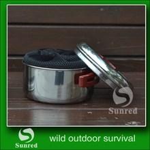 De nivel superior más populares de cocina de acero inoxidable olla de sopa para acampar