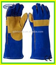 Blue welding gloves,reinforced palm,kevlar sewing
