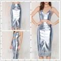 oem proveedor de china de verano 2015 las mujeres plata metálico de cuero vegan hss8433 falda