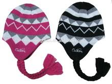 Acrylic jacquard warm trapper hat cap ear flap hat with micro fleece lining