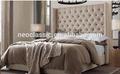 de estilo europeo cama doble de diseño con botones de alta cabecera de la cama