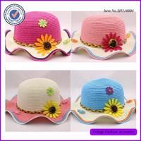 Stylish Short Rolling Brim Kids Straw Hat Summer Fedora Hat With Flower