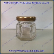 Small Mini Hexagon Glass Jars 1.5 Oz Perfect Storing Honey, Jam and Baby Foods with metal lid