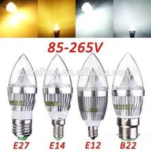 Sliver 3x1w e14 e27 b22 e12 3W led candle light