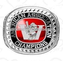 arena football championship rings prong set CZ, custom red onyx stone