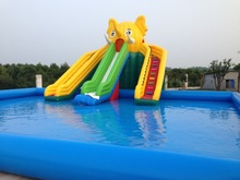 2015 large outdoor high quality inflatable slide with pool for sale