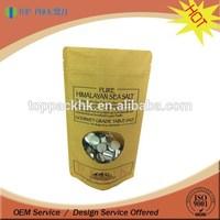Resealable brown kraft packaging paper zip lock bag for food