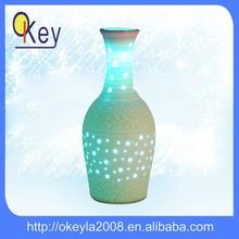 Home decor LED white ceramic flower vase light