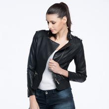2015 new fashion ladies PU leather jacket with high quality