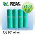 2015 caliente de la venta de la batería nimh 1.2 V recargable 2400 mah