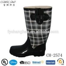 Plaid Print Women Waterproof Welly Boot