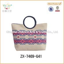Eco-friendly Large Jute Cotton Combination Tote Bag button closure