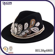 High quality headwear with beads wool trilby cap fedora hat wide brim