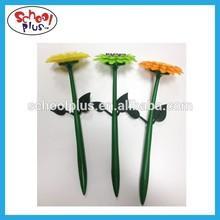 Cute rubber flower pen for promotion