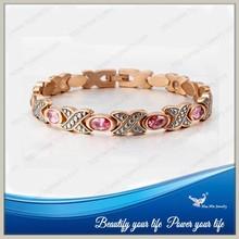 USA Hot selling IP rose gold plating crystals magnetic bracelet 2015
