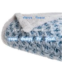 super soft 100% polyester rose design PV plush with sherpa fleece mink throw blanket