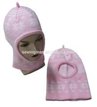 Lovely acrylic jacquard snow kids helmet hat Balaclava mask hat cap