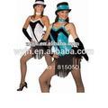 2015 nuevo diseño- negro corto- flequillos/flecos/chasquillas/capules/pollinas leotardo de lentejuelas de jazz latino vestido
