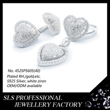 2015 hot sale the beautiful heart shape wedding jewelry set ,Wholesale african costume silver jewelry set import from China