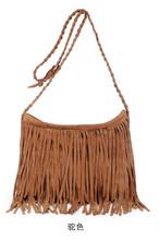 Fashion European Style Celebrity Faux Suede Tassel Handbag Fringe Cross Body Messenger bag