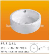 YJ9013 hand round art ceramic washbasin hair