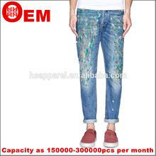 RHR New washed design Denim jeans fashion scrawl colorful Men's Jeans