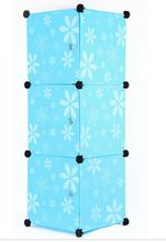 3 cube blue daisy pp plastic storage