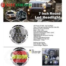 Bright chrysler dodge jeep,75W Hi Lo 7'' round led headlights jeep chrysler dodge jeep