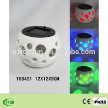 Ceramic crafts pot with solar light for garden decoration