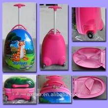 "16"" ABS+PC hard shell on sale kids plastic traveling school bag 2 wheels printing trolley bag"