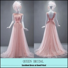 2015 QUEEN BRIDAL Latest Fashion Cap Sleeve Top Pearls Pink Princess Evening Dress