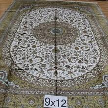 9x12 yellow and white silk handmade silk chinese asian carpets