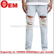 rhr lavada nuevo diseño agujero trapos ripped dril de algodón pantalones vaqueros pantalones vaqueros de los hombres
