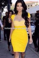 Slim Yellow Cup Sleeves Leotard Mesh Top Mini Dress LC21504