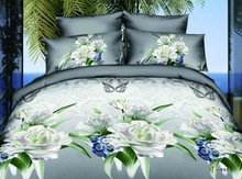 Latest design indian designed white flower 3d bright color duvet customized 800tc bed sheets